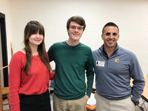 (Left to right) Students Liza Raketska and Levi Shingleton have interviewed Dr. Joey Ibrahim over the last few weeks and plan to submit his story in the NPR Student Podcast Challenge. Thursday was their first meeting in person.