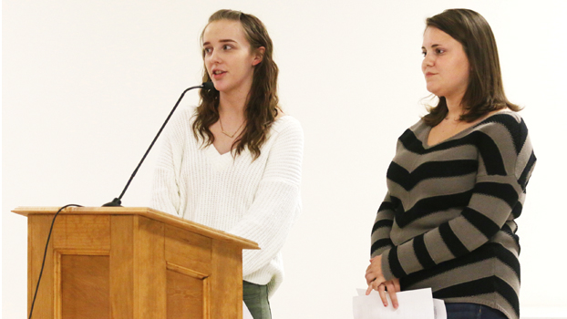 Star Photo/Bryce Phillips Elizabethton students Kayla Vandeventer and Summer Johnson address the Elizabethton City School Board during Tuesday's meeting.