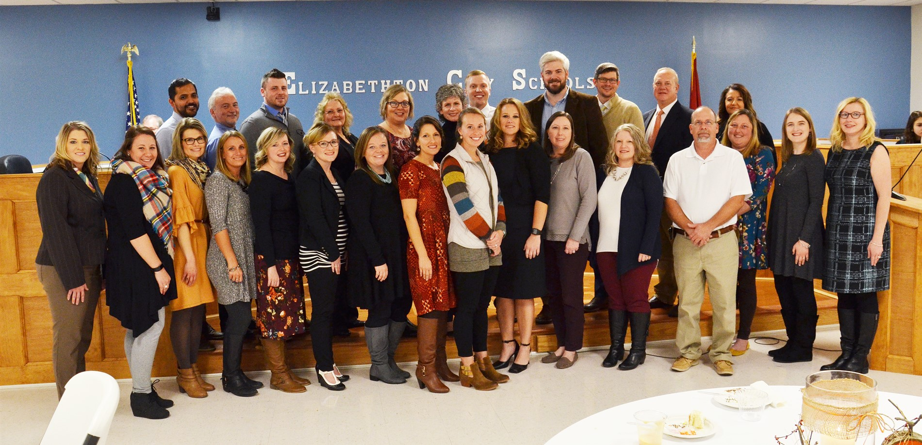 Photo of 24 tenure teachers and 3 teachers of the year.
